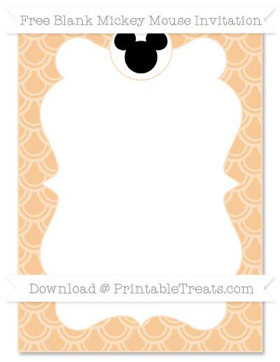 Free Pastel Light Orange Fish Scale Pattern Blank Mickey Mouse Invitation