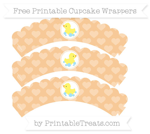 Free Pastel Light Orange Heart Pattern Baby Duck Scalloped Cupcake Wrappers