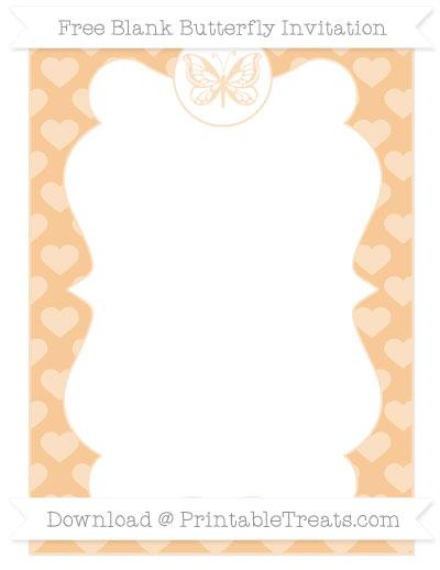 Free Pastel Light Orange Heart Pattern Blank Butterfly Invitation