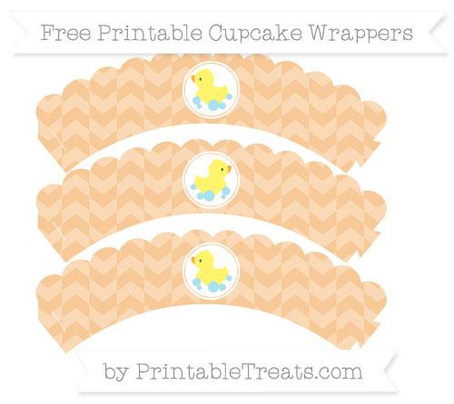 Free Pastel Light Orange Herringbone Pattern Baby Duck Scalloped Cupcake Wrappers