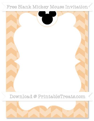Free Pastel Light Orange Herringbone Pattern Blank Mickey Mouse Invitation