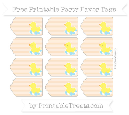 Free Pastel Light Orange Horizontal Striped Baby Duck Party Favor Tags