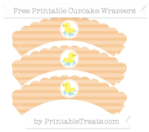 Free Pastel Light Orange Horizontal Striped Baby Duck Scalloped Cupcake Wrappers