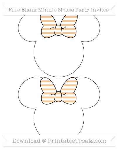 Free Pastel Light Orange Horizontal Striped Blank Minnie Mouse Party Invites