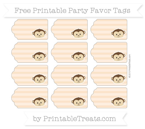 Free Pastel Light Orange Horizontal Striped Boy Monkey Party Favor Tags