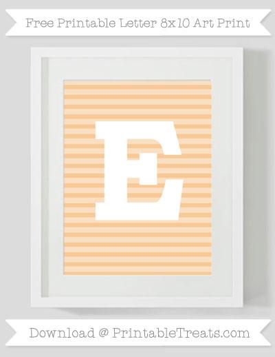 Free Pastel Light Orange Horizontal Striped Letter E 8x10 Art Print