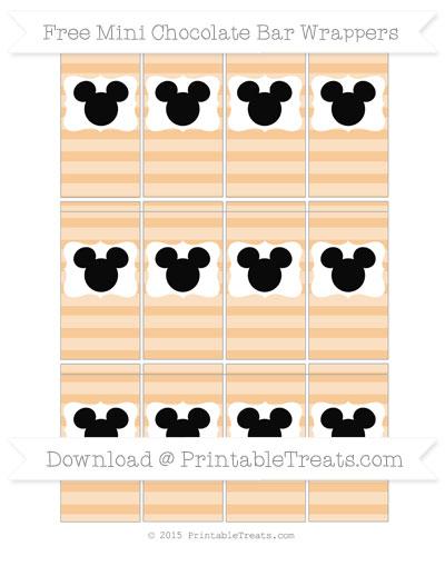 Free Pastel Light Orange Horizontal Striped Mickey Mouse Mini Chocolate Bar Wrappers