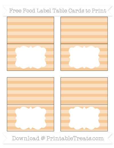 Free Pastel Light Orange Horizontal Striped Simple Food Labels