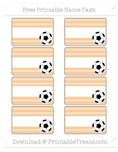 Free Pastel Light Orange Horizontal Striped Soccer Name Tags