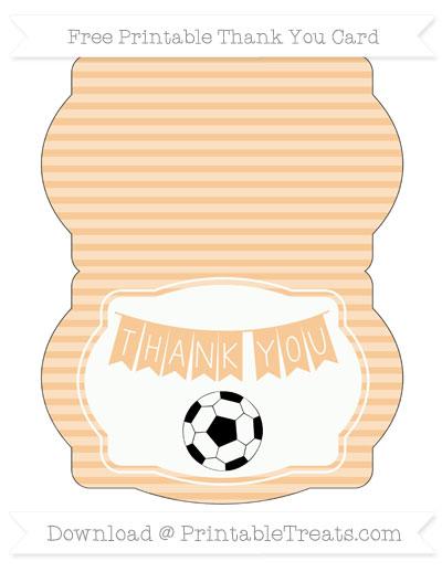 Free Pastel Light Orange Horizontal Striped Soccer Thank You Card
