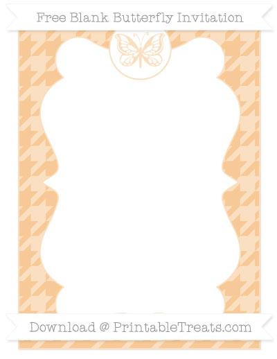 Free Pastel Light Orange Houndstooth Pattern Blank Butterfly Invitation