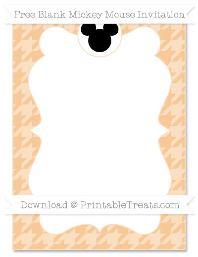 Free Pastel Light Orange Houndstooth Pattern Blank Mickey Mouse Invitation
