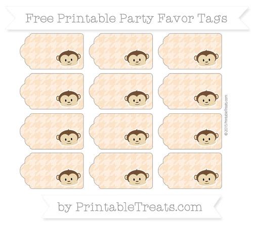 Free Pastel Light Orange Houndstooth Pattern Boy Monkey Party Favor Tags