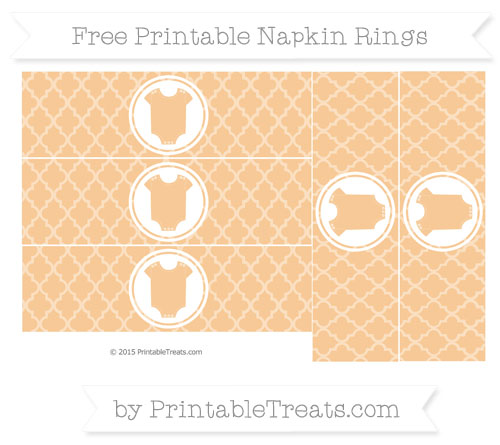 Free Pastel Light Orange Moroccan Tile Baby Onesie Napkin Rings
