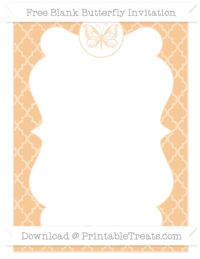 Free Pastel Light Orange Moroccan Tile Blank Butterfly Invitation