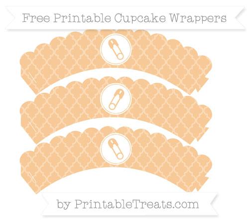 Free Pastel Light Orange Moroccan Tile Diaper Pin Scalloped Cupcake Wrappers