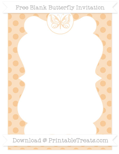 Free Pastel Light Orange Polka Dot Blank Butterfly Invitation