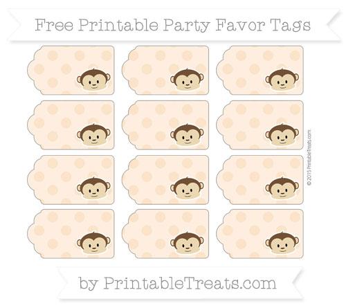 Free Pastel Light Orange Polka Dot Boy Monkey Party Favor Tags