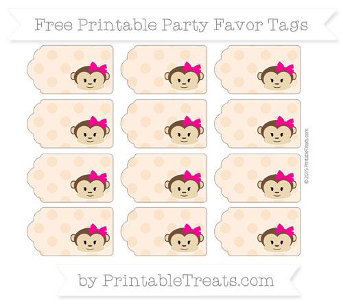 Free Pastel Light Orange Polka Dot Girl Monkey Party Favor Tags