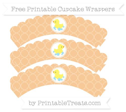 Free Pastel Light Orange Quatrefoil Pattern Baby Duck Scalloped Cupcake Wrappers