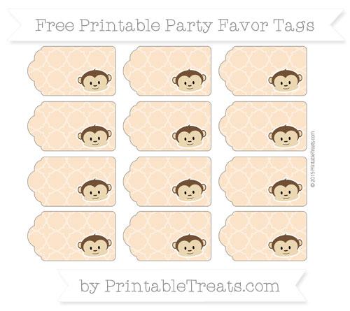 Free Pastel Light Orange Quatrefoil Pattern Boy Monkey Party Favor Tags
