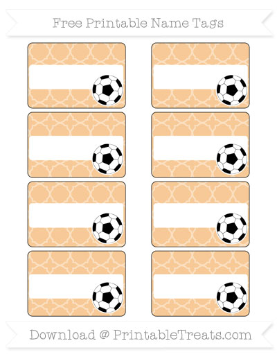 Free Pastel Light Orange Quatrefoil Pattern Soccer Name Tags
