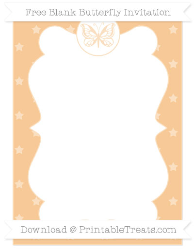 Free Pastel Light Orange Star Pattern Blank Butterfly Invitation