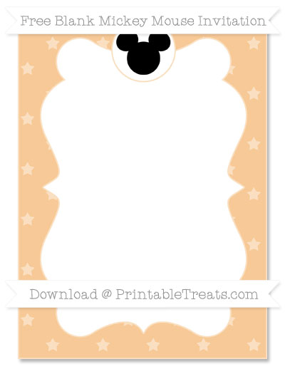 Free Pastel Light Orange Star Pattern Blank Mickey Mouse Invitation