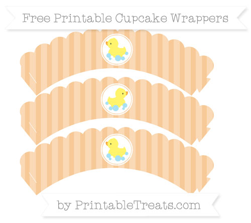 Free Pastel Light Orange Striped Baby Duck Scalloped Cupcake Wrappers