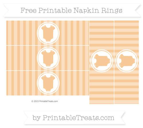 Free Pastel Light Orange Striped Baby Onesie Napkin Rings
