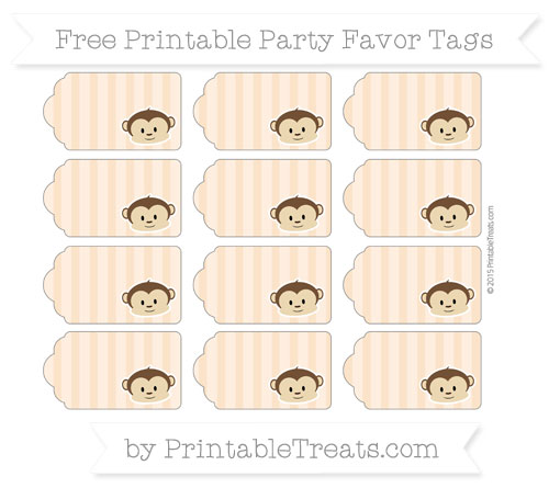 Free Pastel Light Orange Striped Boy Monkey Party Favor Tags