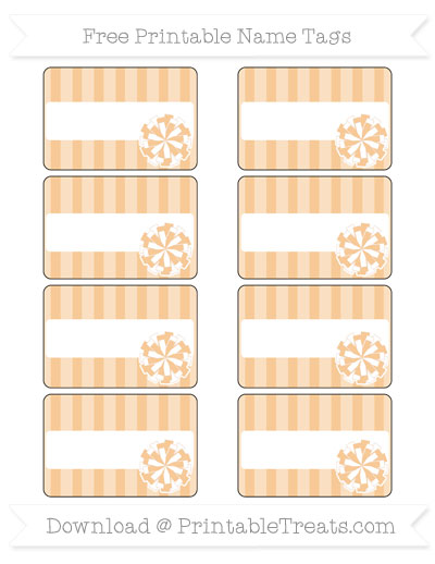 Free Pastel Light Orange Striped Cheer Pom Pom Tags