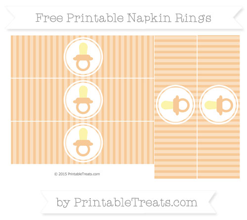 Free Pastel Light Orange Thin Striped Pattern Baby Pacifier Napkin Rings