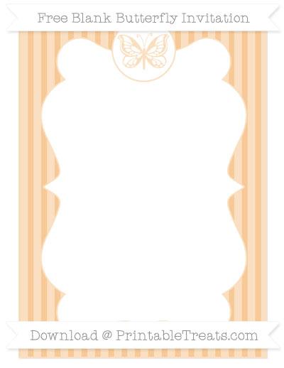 Free Pastel Light Orange Thin Striped Pattern Blank Butterfly Invitation
