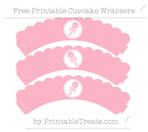 Free Pastel Light Pink Baby Rattle Scalloped Cupcake Wrappers
