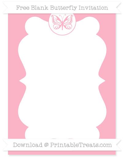 Free Pastel Light Pink Blank Butterfly Invitation
