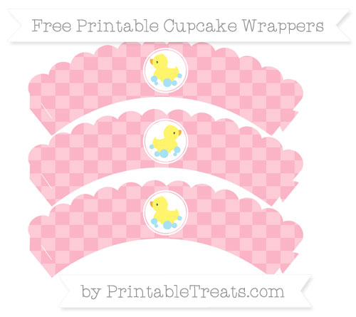 Free Pastel Light Pink Checker Pattern Baby Duck Scalloped Cupcake Wrappers