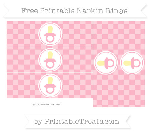 Free Pastel Light Pink Checker Pattern Baby Pacifier Napkin Rings