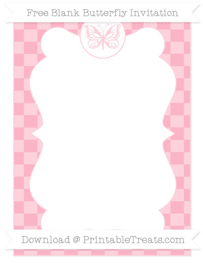 Free Pastel Light Pink Checker Pattern Blank Butterfly Invitation