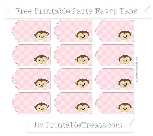 Free Pastel Light Pink Checker Pattern Boy Monkey Party Favor Tags