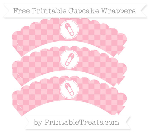 Free Pastel Light Pink Checker Pattern Diaper Pin Scalloped Cupcake Wrappers