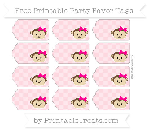 Free Pastel Light Pink Checker Pattern Girl Monkey Party Favor Tags