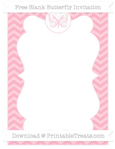 Free Pastel Light Pink Chevron Blank Butterfly Invitation