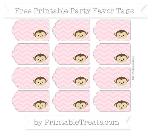 Free Pastel Light Pink Chevron Boy Monkey Party Favor Tags