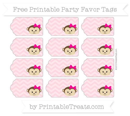 Free Pastel Light Pink Chevron Girl Monkey Party Favor Tags