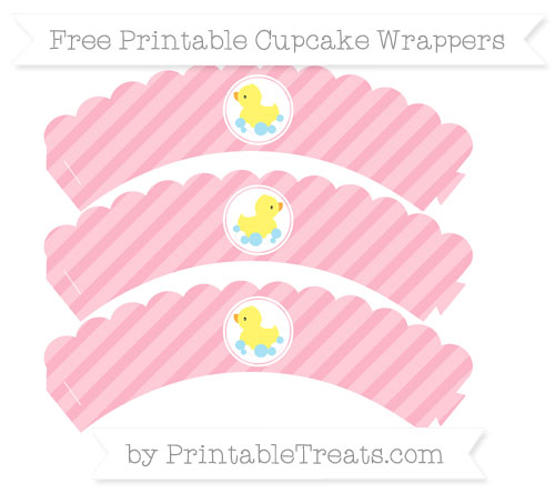 Free Pastel Light Pink Diagonal Striped Baby Duck Scalloped Cupcake Wrappers
