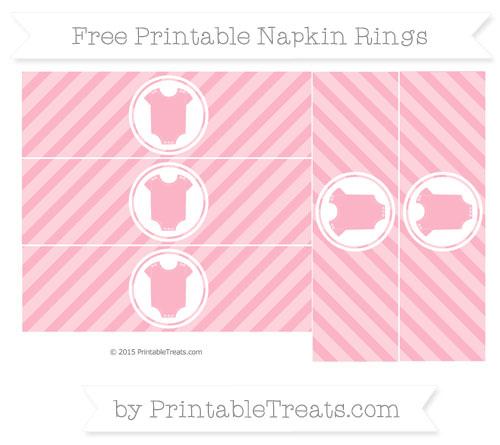 Free Pastel Light Pink Diagonal Striped Baby Onesie Napkin Rings