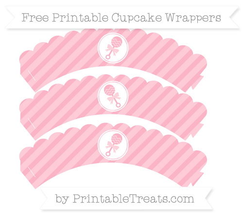 Free Pastel Light Pink Diagonal Striped Baby Rattle Scalloped Cupcake Wrappers