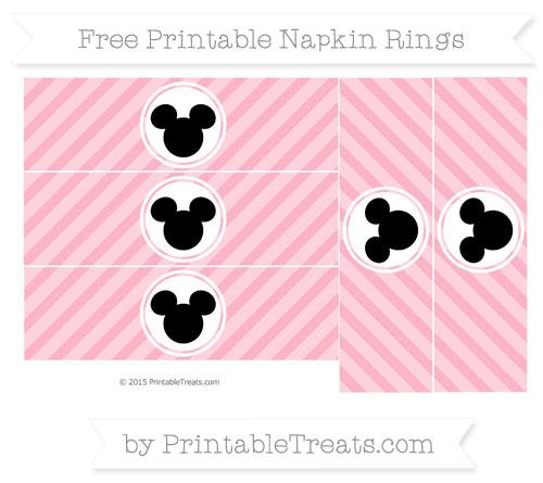 Free Pastel Light Pink Diagonal Striped Mickey Mouse Napkin Rings