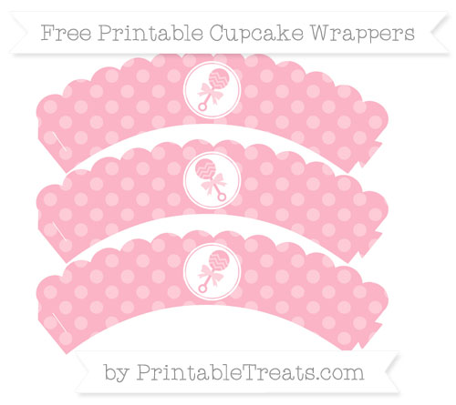 Free Pastel Light Pink Dotted Pattern Baby Rattle Scalloped Cupcake Wrappers